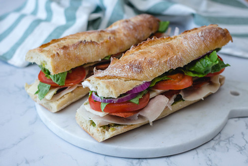 Pesto Club Sandwich with Turkey and Vegetables