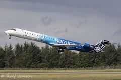 ES-ACG Bombardier CRJ-900 Nordica Edinburgh airport EGPH 05.08-19 (rjonsen) Tags: plane airplane aircraft aviaiton airliner takeoff departure liftoff flying regional jet