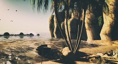 🌞 Private summer 🌞 (Dawn Marley) Tags: beach summer boat rocks water palms sand chill sl secondlife
