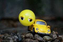 WE ARE GOING TO FLY || WE GAAN DE LUCHT IN (Anne-Miek Bibbe) Tags: geel yellow yeaune gelb giallo amarillo amarelo crazytuesday happycrazytuesday canoneos70d annemiekbibbe bibbe nederland 2019 tabletopphotography speelgoed toy spielzeug giocattoli juguetes bringuedos jouets auto car toycar speelgoedauto vw kever beetle ballon balloon