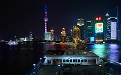 Shanghai - Ferry and Skyline (cnmark) Tags: china shanghai pudong skyline night lights lujiazui bright colored coloured light pearl orient tower pearloftheorient huangpu river nacht nachtaufnahme noche nuit notte noite tall tallest scenic architecture 中国 上海 浦东 陆家嘴 东方明珠 东方明珠电视塔 明珠塔路 外滩 ©allrightsreserved