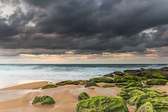 Winter Morning at the Seaside (Merrillie) Tags: daybreak moss sunrise nsw nature water centralcoast landscape sea waterscape killcarebeach newsouthwales waves earlymorning morning outdoors dawn ocean green clouds rocks coastal cloudy sky seascape australia coast killcare seaside