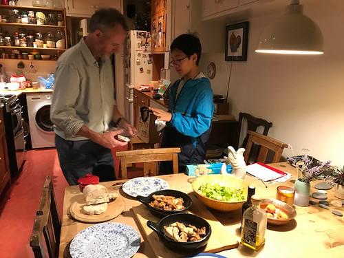 Ryuichi having dinner at teacher Sian's house
