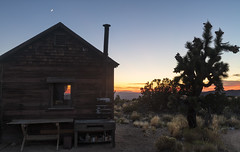 Sunset View (magnetic_red) Tags: cabin house rural rustic wooden sunset window view joshuatrees mojavenationalpreserve