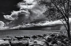 Summer storm couds. Explored. (Tim Ravenscroft) Tags: clouds seascape shore storm sky ocean sea monochrome blackandwhite blackwhite iphone