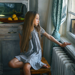 Taya. (matveev.photo) Tags: girl window hands hair child shadow light sunlight summer squareformat square people portrait young matveev art