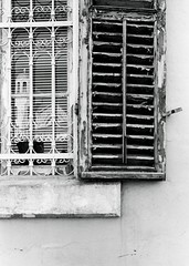 Church in the window (mozo273) Tags: nostalgia city urban architecture oldtown eos30 canon xtol kodak 100iso fomapan fomafilm foma film analog blackandwhite monochrome shutters old reflection window church limassol cyprus