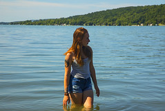 Red, White, and Blue (Matt Champlin) Tags: noelle women hike hiking adventure outdoors life beautiful nature landscape peaceful flx otisco wading swimming summer endlesssummer redheadredhead sexy daisydukes pristine water boat boating canon 2019
