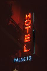 Hotel Palacio (Nando.uy) Tags: nandouy montevideo uruguay film nikon f3 nikkor 50mm f14 fuji provia 100f neon sign cartel night noche analog 35mm filmisnotdead sharefilm hotel palacio