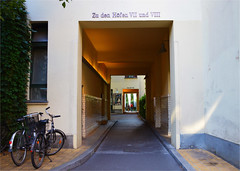 The secluded Berlin (angelsgermain) Tags: courtyards passageway houses walls light garden trees shop sign bikes secluded calm relax jugendstil hackeschehöfe mitte berlin germany deutschland