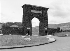 FOR THE BENEFIT AND ENJOYMENT OF THE PEOPLE (LarsHolte) Tags: 645 pentax 6x45 pentax645 645n blackandwhite bw usa 120 film monochrome analog mediumformat landscape mono nationalpark gate montana arch foto ishootfilm 120film yellowstone analogue f28 kosmo 100iso 75mm filmphotography classicblackwhite homeprocessing caffenolc filmforever smcpentaxfa larsholte gardiner