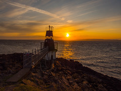Life is Beautiful (RS400) Tags: sunset colour sky clouds wow cool amazing travel sea water portishead southwest orange yellow rocks land landscape blue olympus outside light house pho photography