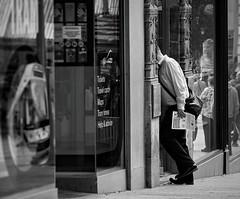Step Inside. Aug 2019 (Simon W. Photography) Tags: street candid streetphotography streetphoto streetphotographer photography streetstyle urban path reflection reflections people person mature groupshot crowd man men male gentlemen gentleman solitude solitary alone lonely single solo blackandwhite blackwhite monochrome monotone greyscale grayscale bw bnw nocolour nocolor lightandshadow nottingham nottinghamshirewildlifetrust