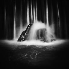 Outcrop (graemes83) Tags: water waterfall movement longexposure blackandwhite minimal rocks wet river stream brook square