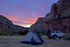 Echo Park Campground (Jeff Mitton) Tags: tent echopark dinosaurnationalmonument colorado sunset dusk canyon cliff sandstone sandstonecliffs sandstonewall earthnaturelife wondersofnature camping