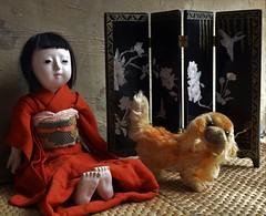 Emiko and Peky (shero6820) Tags: old vintage antique toys dolls ichimatsu ningyo steiff dog japan gofun