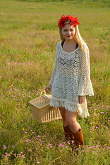 A day out for a picnic (radargeek) Tags: photoshoot flowers flower model iris picnic basket field mustang ok oklahoma cowboy boots