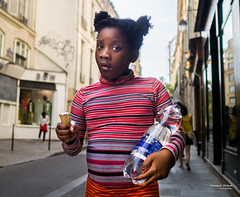 Street - Ice Cream Girl (François Escriva) Tags: street streetphotography paris france people candid olympus omd photo rue colors sidewalk girl ice cream water bottle red hair cut stripes tshirt blue look