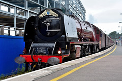 """LMS Coronation Class No. 6233 """"Duchess of Sutherland"""", Exeter St. Davids, August 2019 (Photos by Nathan Lawrence) Tags: trains train steam diesel uk network loco locomotive br lms gwr first great western class 43 hst 800 802 iet iep duchess sutherland 257 squadron norden swanage dawlish devon dorset"""