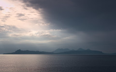 Eigg and Rum (ShinyPhotoScotland) Tags: light sea nature water clouds landscape islands scotland highlands raw filter rum hdr crepuscularrays atmosphericoptics atop lochaber eigg circularpolariser gobe rawtherapee darktable sonya7r3 hills mountains silhouette outline