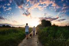Dog walkers at sunset (hedley_wright) Tags: landscape sunset wicken burwell cambs england uk eastanglia