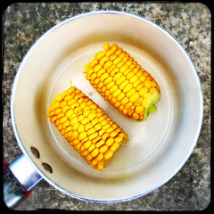 Cooked Corn (Julie (thanks for 9 million views)) Tags: hipstamaticapp sweetcorn food yellow saucepan squareformat 100xthe2019edition 100x2019 image73100 iphonese