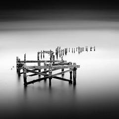 s t i l l n e s s . . . (Mark Leader) Tags: art blackandwhite blurred tones pier swanage calm dreamscape dorset exposure filter tide light jetty longexposure monochrome misty ndfilter peaceful square tranquil serene