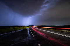 Lighting the way lightening fast! (Thomas Winstone) Tags: crickhowell wales unitedkingdom lightening cloud car cartrails light road weather storm