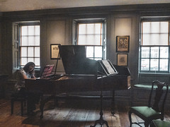Getting the Handle on Handel (Steve Taylor (Photography)) Tags: architecture museum 25brookstreet georgefriderichandel handel handel'shouse harpsichord mayfair panelling playing sheetmusic shutter windowseat chair seat picture