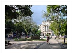 A passerby with his bag (W Gaspar) Tags: santos brazil brasil street southamerica latinamerica travel photoborder fujifilm x10 square outdoors geotagged urban trees people man building