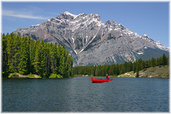 Red canoe on lake # 01 (Sigi Deczki) Tags: