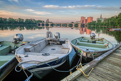 Hanging out in Hartford #2 (tquist24) Tags: connecticut connecticutriver bulkeleybridge morning bridge sky reflection water clouds sunrise reflections river geotagged boats outside boat dock nikon cityscape outdoor rope hdr riversidepark i84 nikond5300