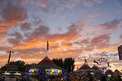 Heaven and Hell (elephantsinlove) Tags: heaven hell fair county santa rosa california northern ca sunset evening night dusk orange oranges yellow yellows pink pinks blue sky ferris wheel chili pepper profile stuffed animals stuffys lights light beautiful nature man made flags american america usa tents lovely 2019 photo photoshop photography sonoma color colors colorful