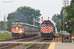 Two Train Meet - Downers Grove (tim_1522) Tags: railroad railfanning rail illinois il bnsf burlingtonnorthernsantafe bn racetrack metra commuter f40phm2 f40ph3 chicago sub subdivision passenger