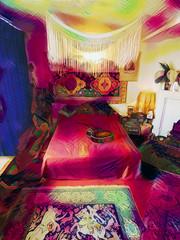 All Around the Bedroom (Steve Taylor (Photography)) Tags: digitalart fashion carpet green pink purple red mauve uk gb england greatbritain unitedkingdom london margate apartment 25brookstreet bed canopy flat guitar jimihendrix mayfair pillow rug lamp