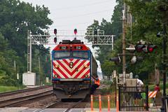 Changing Ends - Downers Grove (tim_1522) Tags: railroad railfanning rail illinois il bnsf burlingtonnorthernsantafe bn racetrack metra commuter f40ph3 chicago sub subdivision passenger