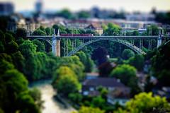 Tiny Urban Scene (LeWelsch Photo) Tags: tilt shift tram bridge tiltshift bokeh aare tree building kornhausbridge kornhausbrücke iron rosengarten bern switzerland a6000 lewelsch lewelschphoto swissphotographers