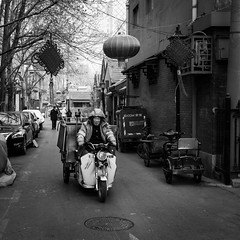 Challenging the cold (Go-tea 郭天) Tags: pékin républiquepopulairedechine beijing hutong old ancient narrow alley construction building pavement bricks history historical historic traditional tradition man coat hood winter cold sun sunny shadow freez freezing frozen ride rider riding motorbike motorcycle tricycle alone lonely fast transportation portrait cny decoration festival trees hard fight fighting street urban city outside outdoor people candid bw bnw black white blackwhite blackandwhite monochrome naturallight natural light asia asian china chinese canon eos 100d 24mm prime