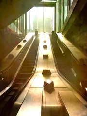 The Golden Light (Steve Taylor (Photography)) Tags: architecture stairs steps window green gold bright metal steel people uk gb england greatbritain unitedkingdom london perspective reflection escalator subway tottenhamcourtroad tube underground
