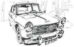 Ma Peugeot 404 de 1963 (lolo wagner) Tags: croquis sketch peugeot 404 voiture garage atelier