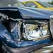 Broken headlights on a vintage Mercedes