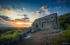 St Michael's Chapel in Torquay (Mark Frost :)) Tags: chapel church hill stone abandoned sun sunset hdr nikon d810 nikond810 clouds sky blue red orange photo photography devon uk torquay