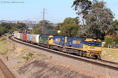 IMG_5296 NR68 NR70 G542 Waratah 3MB4 7.8.19_1 (Brians Railway, Bus and Shipping Collection) Tags: nr68 nr70 g542 pn pacificnational nrclass gclass freight containers waratah nsw australia maudstreet ge gm train railway railroad locomotive diesel