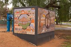 Cluster box mosaic at the entrance to Merbein, Victoria (David Redfearn) Tags: merbein mildura sunraysia regionalaustralia regionalvictoria water mosaic canon6d canoneos6d canonef50mm vic travel