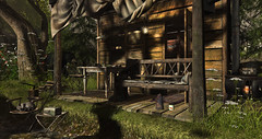 Hunters Retreat.... (kellytopaz) Tags: uber drd tlc bear cabin retreat hunter rustic forest fishing raccoon event second life virtual living bench trees river flowers cinoe stove skye landscape woods enamelware