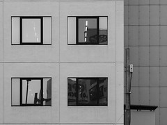 Reflection, Trasmission (Nick Condon) Tags: abstract architecture blackandwhite japan olympus75mm olympusem10 reflection tokyo transmission wall window