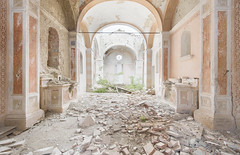 Chiesa Arancia (Jonnie Lynn Lace) Tags: abandoned italy italia italian italianruins chiesa church churchruins decay derelict detail details religion religous interior orange pink yellow white old classic history time memories altar architecture arches collapse colours colorful shadows naturetakesover ruins ruinas exploration explore explorer europe european trip travel texture textures art arte artwork painting jonnielace bright pastel nikkor nikon d750 digital wide
