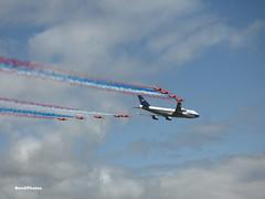 BA100 (BenGPhotos) Tags: 2019 riat royal international air tattoo airshow plane aircraft boeing 747400 british airways 100th anniversary boac livery flypast raf force red arrows bae hawk t1a gbygc