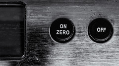 Switched on          or off...................... (David Feuerhelm) Tags: monochrome mono blackandwhite bw noiretblanc schwarzundweiss blancoynegro contrast closeup macro words letters balance scales buttons metal nikkor nikond750 105mmf28micro