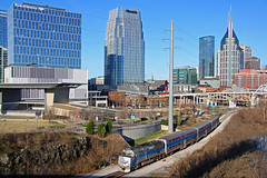 NRTX 120, MCS 153, Korean Veterans Blvd, Nashville, TN, 02-25-19 (mikeball1374) Tags: nashville tennessee musiccitystar nashvilleandeastern f40 commuter downtown emd train transportation trainphotography trains railfanning railroad photography shortline passenger locomotive widecab nerr